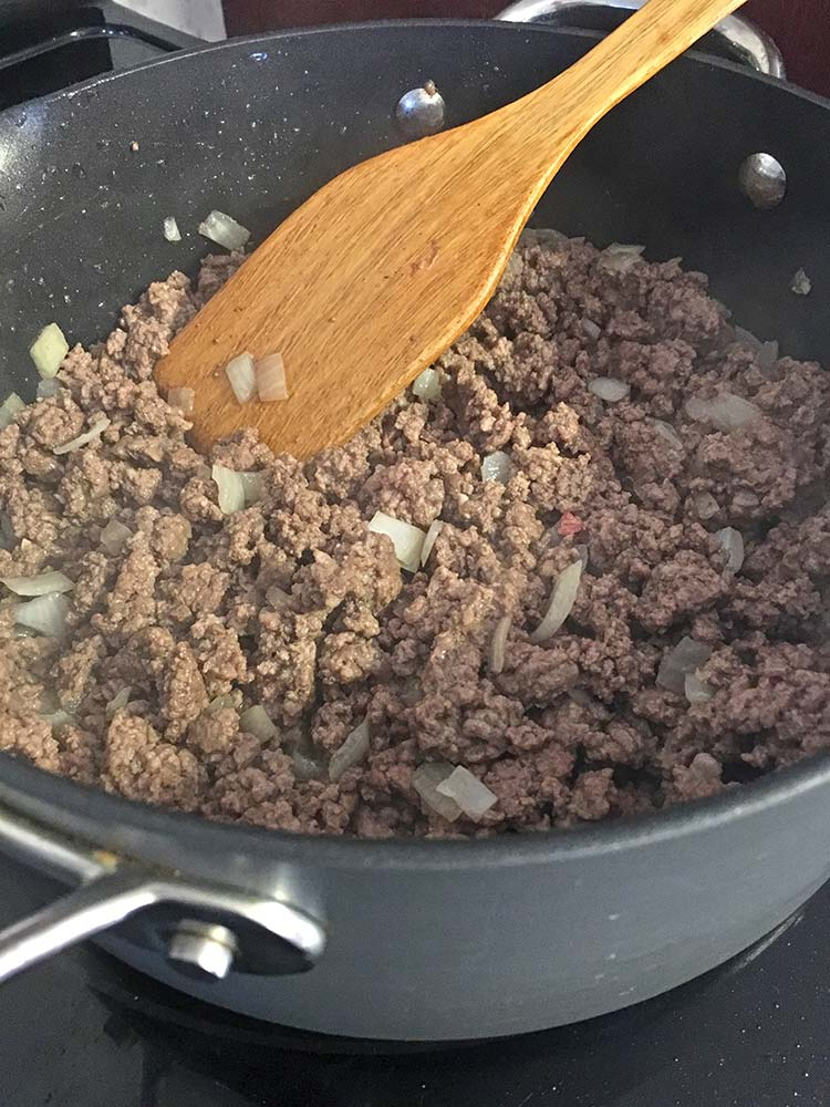 Sloppy Joe - Beef and Onion cooking